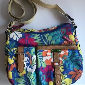 Lily Bloom floral canvas crossbody bag